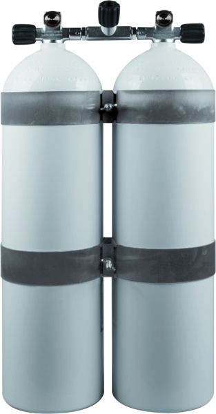 Twin Set Aluminum Cylinders 80cf 207barwhite DIR Style with Stainless Steel Tan