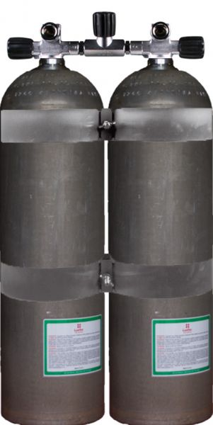 Twin Set Aluminum Cylinders 80 cf DirtyB207 Bar, DIR Style with Stainless Steel