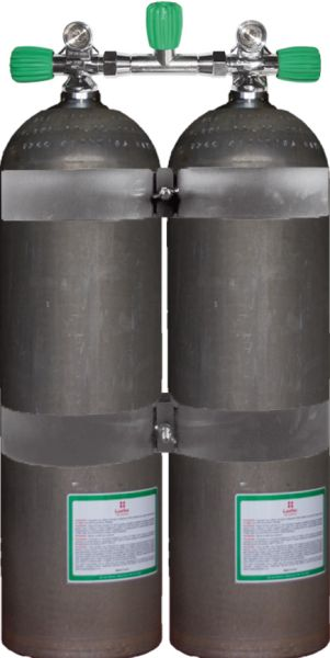 Twin Set Aluminum Cylinders 80 cuft DB207 Bar, DIR Style EU NITROX with Stainl