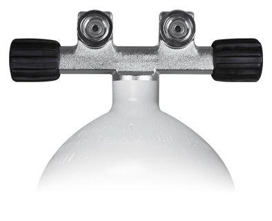 Mono Stahlflasche 230 Bar, Ventil mit 2 Abgängen feststehend