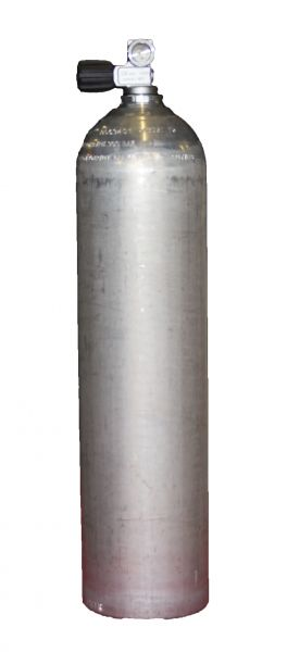 Single AL Cylinder 7 liter silver dirty beast200 Bar, Diving Breathing Gas, Mono Valve