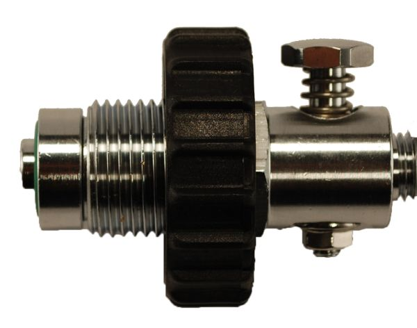 300 Bar connector with pressure releasefor decanting hose DIN
