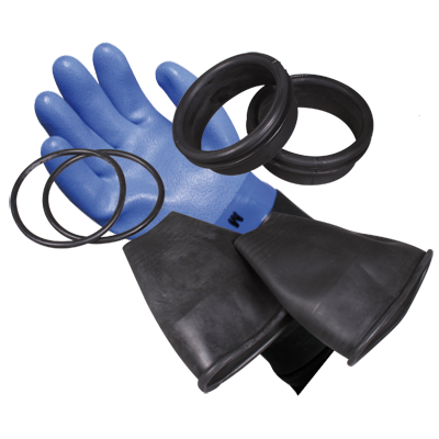 Drying dipping glove set consisting of: gloves, glove liners, rings, latex protection, O-rings