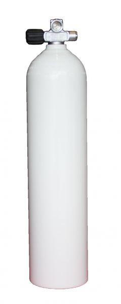 Single AL Cylinder 7L 230b white DivingBreathing Gas, LEFT exp. valve +BP