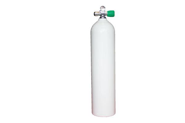 Single AL Cylinder 7L white 230b DivingBreath. Gas RIGHT exp valve+BP EU Nitrox