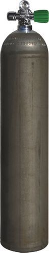 Single LUXFER AL Cylinder , 40cf silver (Dirty Beast) (~5,7 litre), 207 bar, Diving Breathing Gas, EU Nitrox RIGHT Expandable Valve incl. Blind Plug