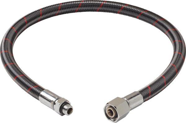 """OMS by Miflex hoch flexibler Atemreglerschlauch - UNF 3/8"""", Carbon mit Roten Streifen"""
