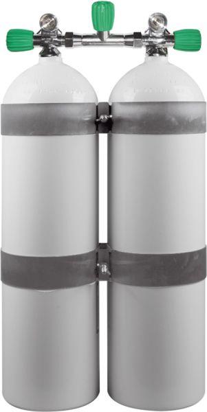 Twin Set Aluminum Cylinders 80cf white207 Bar, DIR Style EU NITROX with