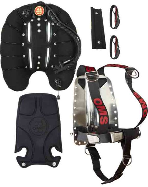 Deep Ocean with OMS backplate DIR Harness, OMS Back Pad u. Soft STA m. 2 belts